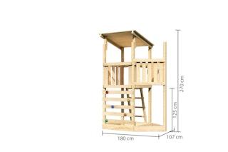 Akubi Kinderspielturm Anna mit Pultdach inkl. Schiffsanbau oben und Kletterwand