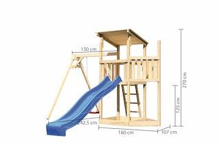 Akubi Kinderspielturm Anna mit Pultdach inkl. Schiffsanbau oben, Wellenrutsche und Einzelschaukel