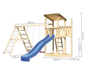 Akubi Kinderspielturm Anna mit Pultdach inkl. Schiffsanbau oben, Wellenrutsche, Doppelschaukel und Klettergerüst