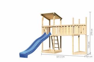 Akubi Kinderspielturm Anna mit Pultdach inkl. Schiffsanbau oben, Wellenrutsche und Anbauplattform XL