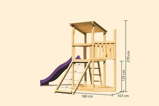 Akubi Kinderspielturm Anna mit Pultdach inkl. Schiffsanbau oben, Netzrampe und Wellenrutsche