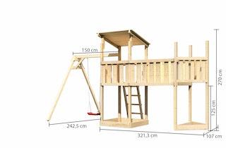 Akubi Kinderspielturm Anna mit Pultdach inkl. Schiffsanbau oben, Anbauplattform XL und Einzelschaukel
