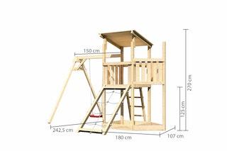 Akubi Kinderspielturm Anna mit Pultdach inkl. Schiffsanbau oben, Netzrampe und Einzelschaukel