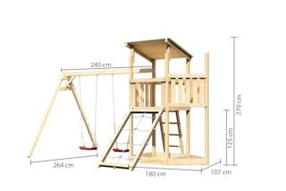 Akubi Kinderspielturm Anna mit Pultdach inkl. Schiffsanbau oben, Netzrampe und Doppelschaukel