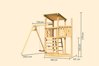 Akubi Kinderspielturm Anna mit Pultdach inkl. Schiffsanbau oben, Kletterwand und Einzelschaukel