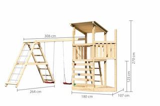 Akubi Kinderspielturm Anna mit Pultdach inkl. Schiffsanbau oben, Kletterwand, Doppelschaukel und Klettergerüst
