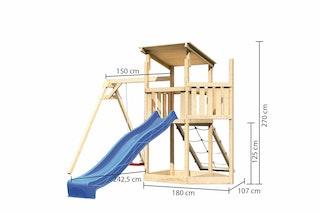 Akubi Kinderspielturm Anna mit Pultdach inkl. Schiffsanbau oben, Wellenrutsche, Netzrampe und Einzelschaukel