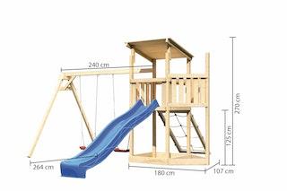 Akubi Kinderspielturm Anna mit Pultdach inkl. Schiffsanbau oben, Wellenrutsche, Netzrampe und Doppelschaukel