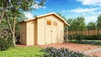 Karibu Gartenhaus Gerätehaus Multimax inkl. Schleppdach und Anbauschrank - 14 mm
