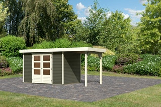 Karibu Woodfeeling Gartenhaus Askola 2/3/4 mit 150 cm Schleppdach