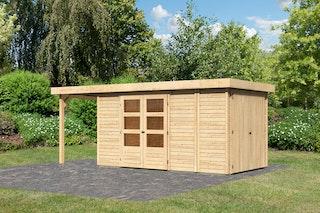 Karibu Woodfeeling Gartenhaus Retola 2/3/5 inkl. Anbauschrank u. 150 cm Schleppdach