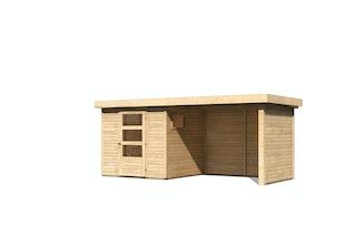 Karibu Woodfeeling Gartenhaus Oburg 2/3/4 mit 280 cm Schleppdach + Rück- und Seitenwand - 19 mm