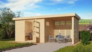Karibu Woodfeeling Gartenhaus Oburg 2/3/4 mit 240 cm Schleppdach + Rück- und Seitenwand in Lamellenoptik- 19 mm