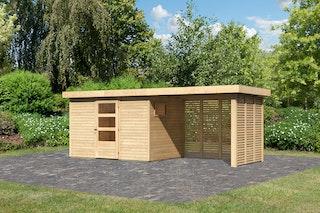 Karibu Woodfeeling Gartenhaus Oburg 2/3/4 mit 280 cm Schleppdach + Rück- und Seitenwand in Lamellenoptik - 19 mm