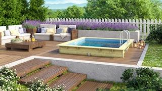 Karibu Rechteck Pool Gr. 1 - 350 x 320 cm - kesseldruckimprägniert