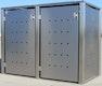T&J ICKING Müllbox Edelstahl, Klappdeckel mit Gasdruckdämpfer, Tonne bis 240 l
