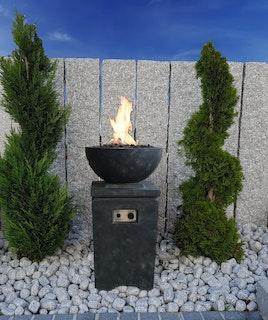 Gardenforma Gas Feuerstelle Kupe, Beton-Optik dunkelgrau, aus Faserbeton