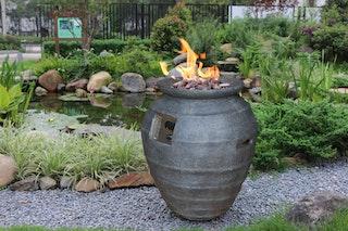 Gardenforma Gas Feuerstelle Katla, Keramik Antik anthrazit, Faserbeton