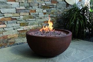 Gardenforma Gas Feuerstelle Oku, Rost-Optik, aus Faserbeton