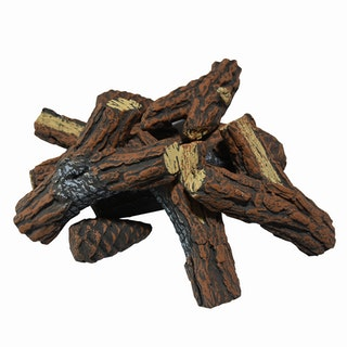 Gardenforma Brennholz aus Keramik für Gas Feuerstellen - Kiefernholz Optik