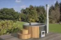 Wolff Finnhaus Badebottich Hot Tub Ø 200 cm Thermoholz mit Außenofen - Ø 200 cm