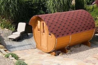 Wolff Finnhaus Aufschlag für rote Dachschindeln für Saunafass 330 de luxe / Finja 1+2