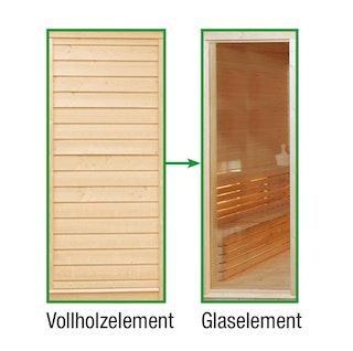 Wolff Finnhaus Sauna Paradiso: Tausch Vollholzelement in Glaselement