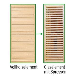 Wolff Finnhaus Sauna Paradiso: Tausch Vollholzelement in Glaselement mit Sprossen