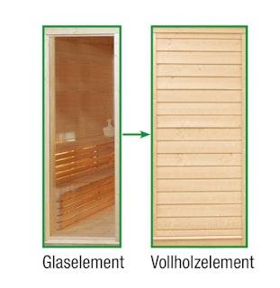 Wolff Finnhaus Sauna Paradiso: Tausch Glaselement in Vollholzelement
