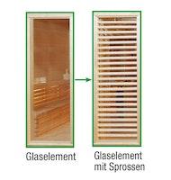 Wolff Finnhaus Sauna Paradiso: Tausch Glaselement zu Glaselement mit Sprossen