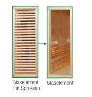 Wolff Finnhaus Sauna Paradiso: Tausch Glasement mit Sprossen in Glaselement ohne Sprossen