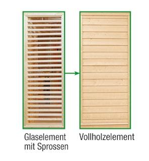 Wolff Finnhaus Sauna Paradiso: Tausch Glaselement mit Sprossen in Vollholzelement
