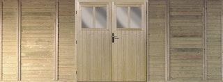 Karibu Frontelement mit Tür für Doppelcarport