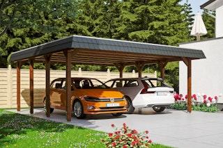 Skan Holz Spreewald - Walmdach Doppelcarport Breite 585 cm
