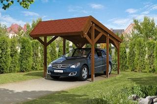 Skan Holz Harz - Pultdach Einzelcarport aus Nadelholz Breite 321 cm