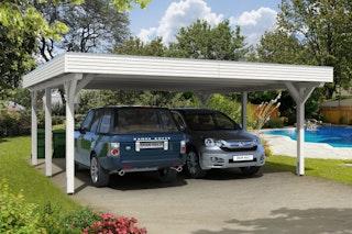 Skan Holz Spessart- Flachdach Doppelcarport aus Leimholz Breite 611 cm