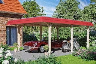 Skan Holz Wendland - Walmdach Carport aus Leimholz Breite 409 cm