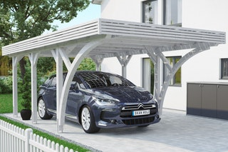 Skan Holz Solardachcarport Einzel weiß