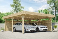 Skan Holz Solardachcarport Doppel naturbelassen