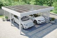 Skan Holz Solardachcarport Doppel weiß