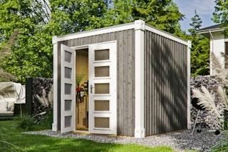 Skan Holz Gartenhaus Cube L 250 x 250 cm - 19 mm inkl. gratis Fundamentanker/Pads