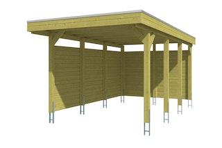 Skan Holz Carport Friesland 314x555 cm inkl. Rück- und Seitenwände Sparset 1