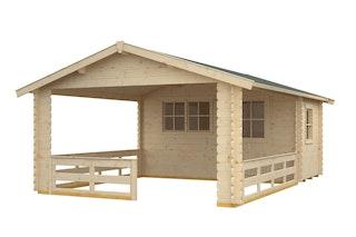 Skan Holz 28 mm Gartenhaus Terrassenhaus 28 / Alicante inkl. gratis Fundamentanker/Pads