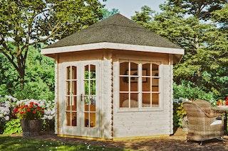 Skan Holz 28 mm Gartenhaus Madeira 3 inkl. gratis Fundamentanker/Pads
