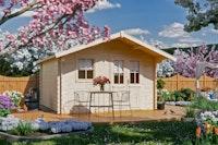 Skan Holz 28 mm Gartenhaus Malaga inkl. gratis Fundamentanker/Pads