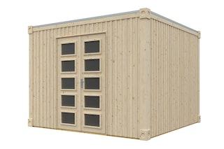 Skan Holz Gartenhaus Cube XXL 300 x 300 cm - 19 mm inkl. gratis Fundamentanker/Pads