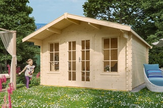 Skan Holz 45 mm Gartenhaus Trondheim/Bergen inkl. gratis Fundamentanker/Pads