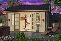 Skan Holz 70 mm Blockbohlenhaus Montreal 2 inkl. gratis Fundamentanker/Pads
