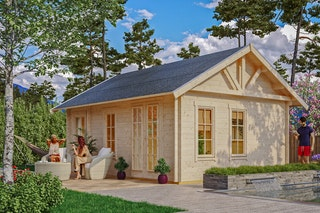 Skan Holz 70 mm Blockbohlenhaus Toronto 2 inkl. gratis Fundamentanker/Pads