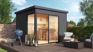 Weka Designhaus 412 Gr. 1 mit Glasschiebetür (Homeoffice-Gartenhaus) - 44 mm